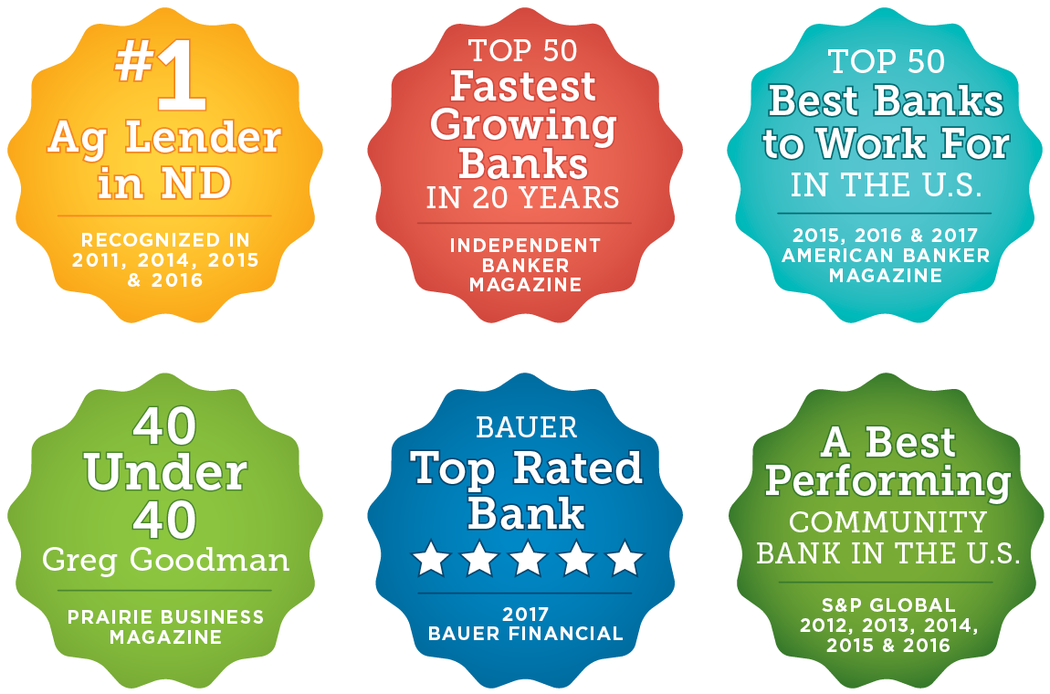 Badges - #1 Ag Lender in ND, Top 50 Fastest Growing Banks in 20 Years, Top 50 Best Banks to work for in the US, 40 Under 40 Greg Goodman, Bauer Top Rated Bank, A Best Performing Community Bank in the US
