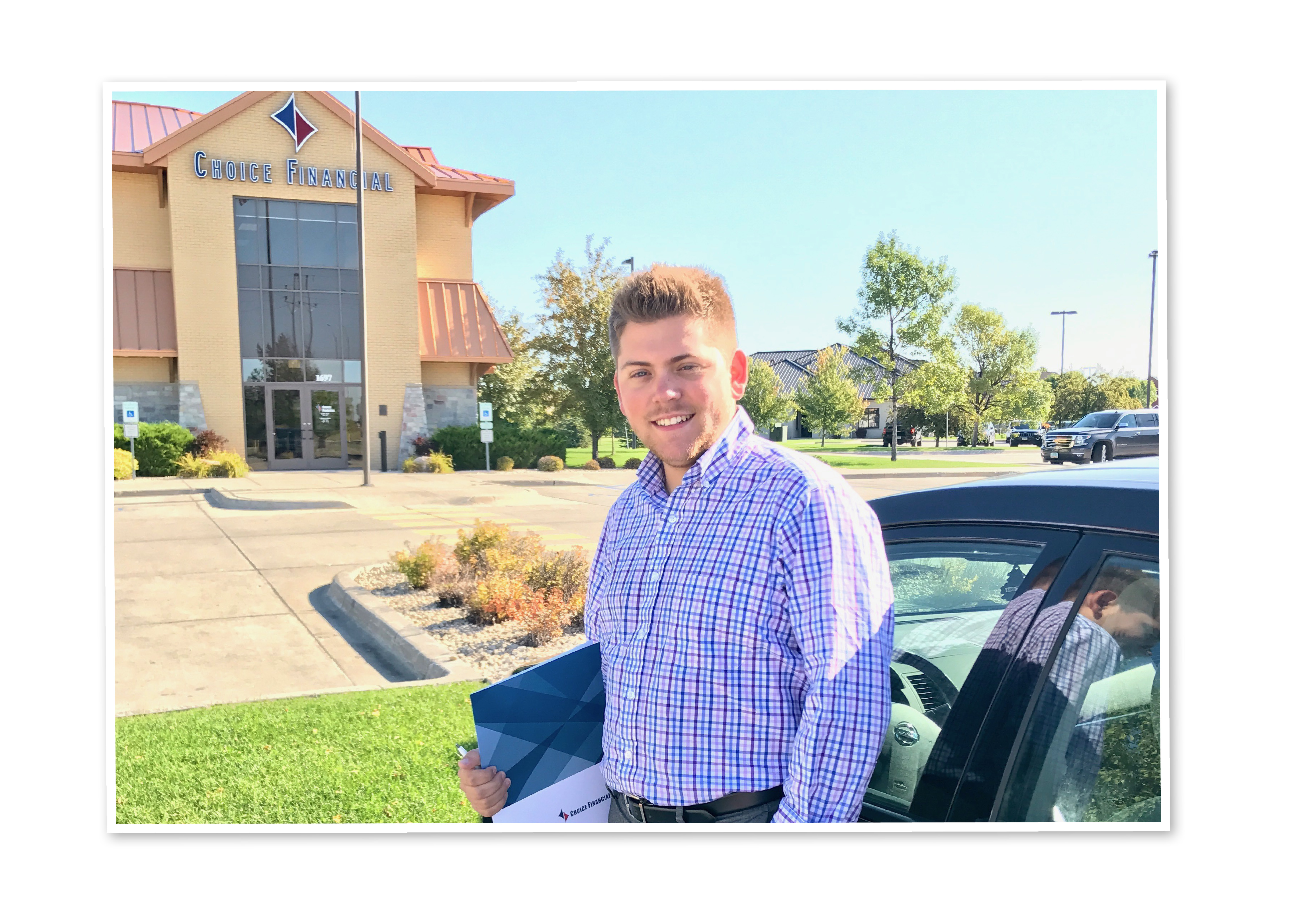Joe Demester standing outside Choice Financial in Grand Forks