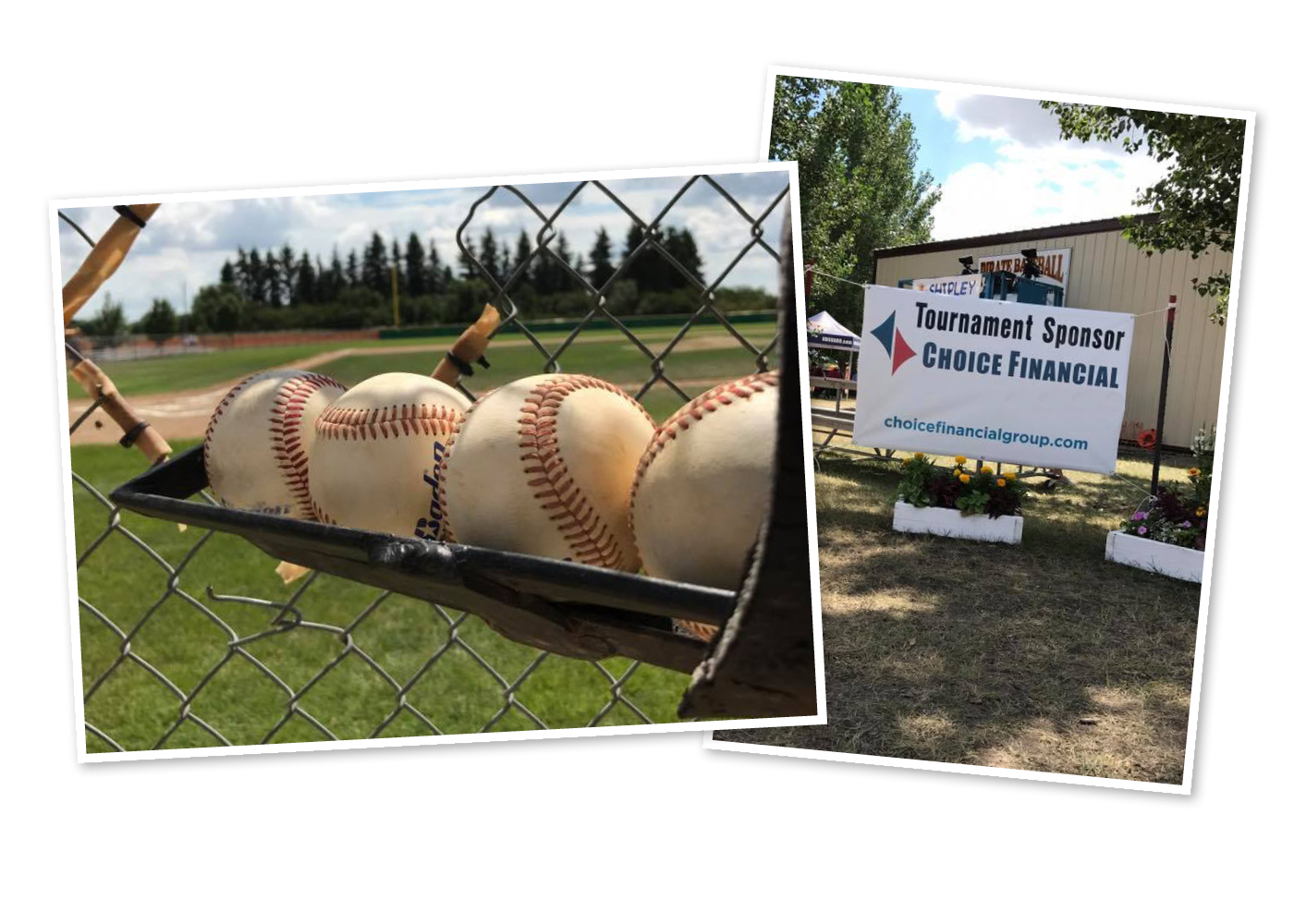 """Two pictures: (left) close-up of baseballs hanging from a fence, the baseball field in the background. (right) A sign saying """"Tournament Sponsor Choice Financial."""""""