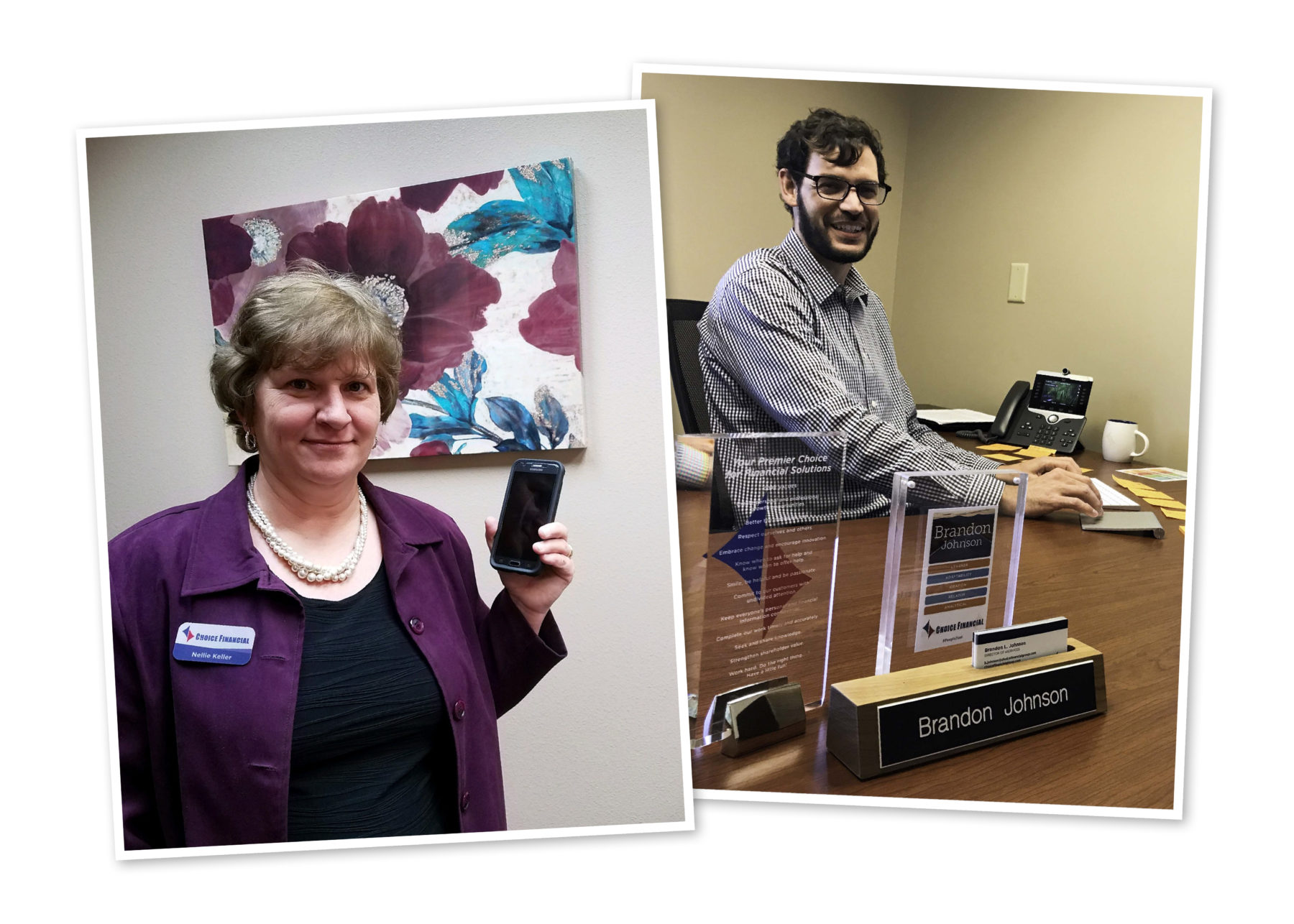 Two photos: (left) Nellie Keller holding a cell phone. (Right) Brandon Johnson sitting at his desk.