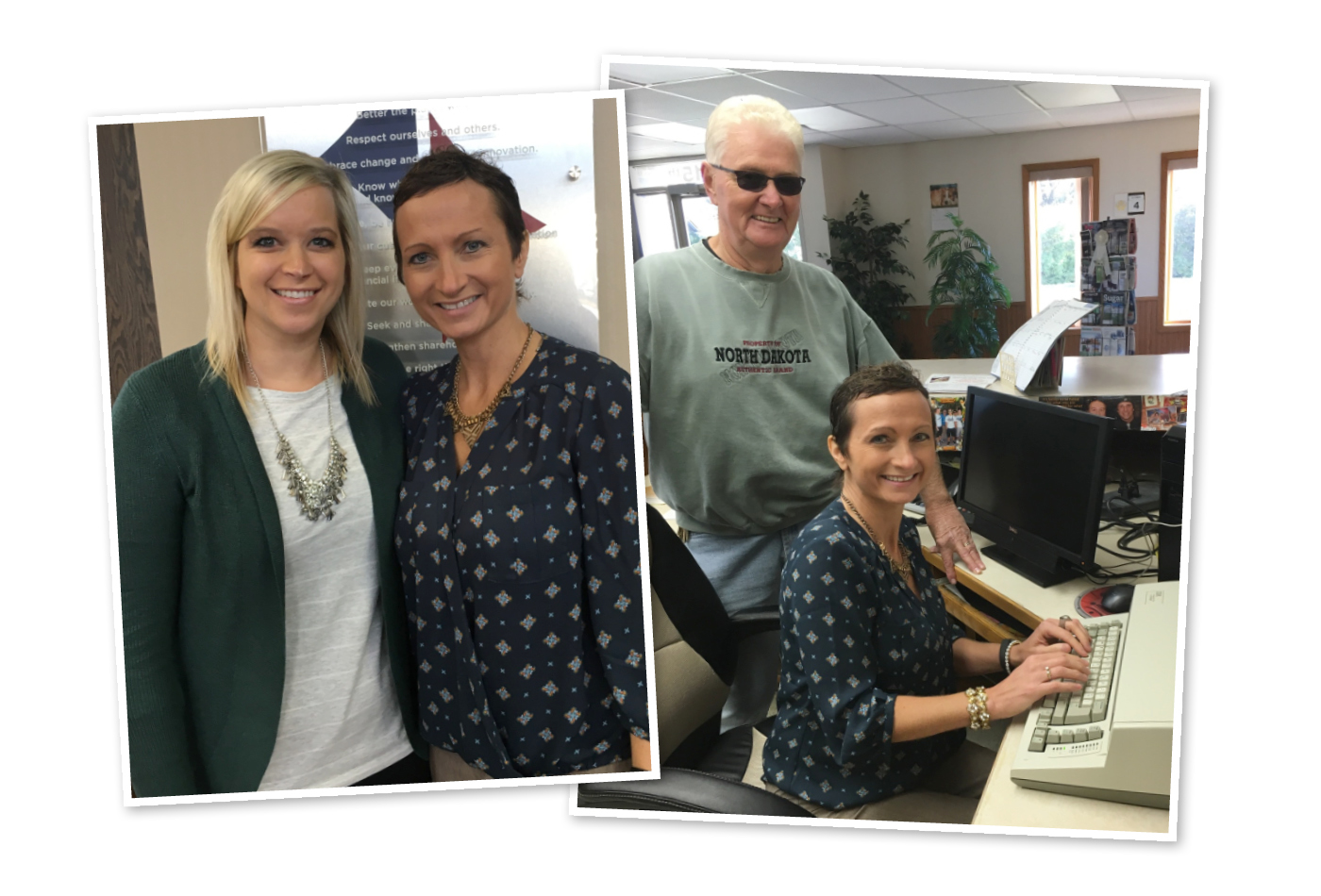 Two Pictures: (1) Lacey Mathison and Sharon Soeby stand together. (2) Sharon Soeby sitting at a typewriter with Dave smiling behind her.