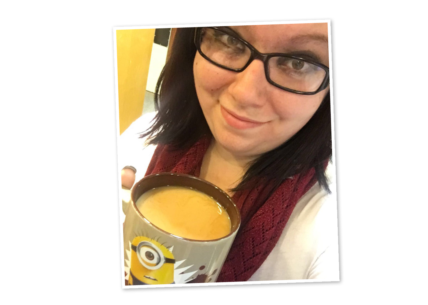 Katie showing off her Minion love with her favorite mug.