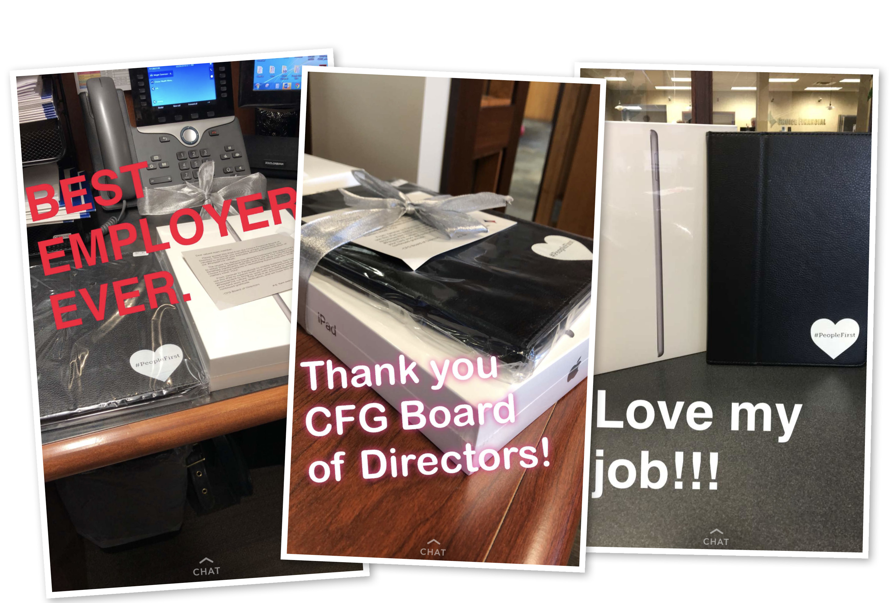 A few examples of excited reactions from our team members on social media after opening their gifts.